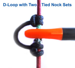 Archery d loop with two tied in nock sets.