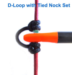 Archery d loop with one tied in nock set