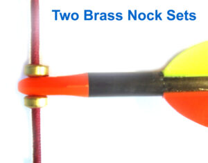Two metal nocking points on the bowstring
