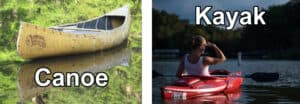 Difference between canoe and kayak.