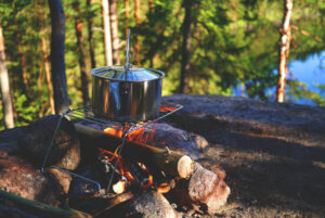 East camping meals on campfire.