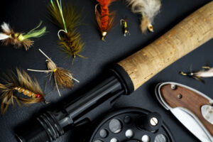 Fly fishing rod and flies.