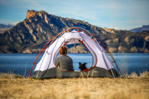 How to feel safe when camping. Tent with dog and lady.